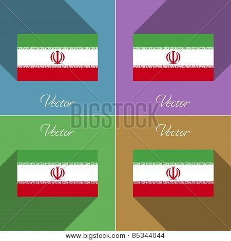 Flags Iran. Set Of Colors Flat Design And Long Shadows. Vector