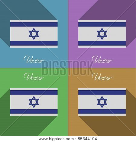 Flags Israel. Set Of Colors Flat Design And Long Shadows. Vector