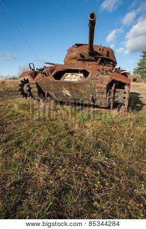 Rusty military war tank