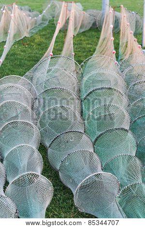 Fishing nets on land