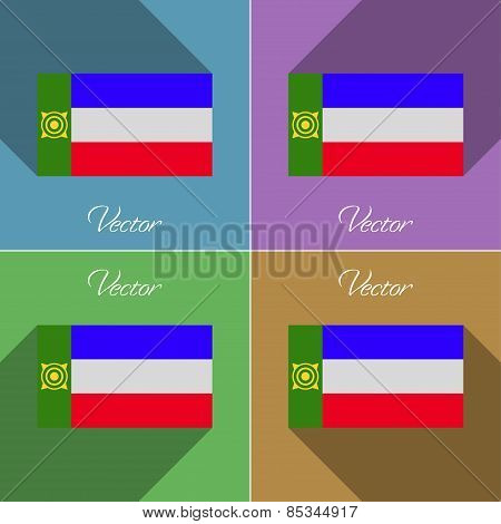 Flags Khakassia. Set Of Colors Flat Design And Long Shadows. Vector