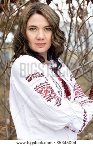 Portrait Of A Beautiful Young Ukrainian Embroidered Shirt