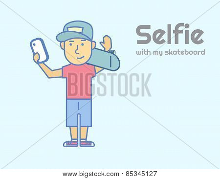 Young guy doing selfie with skateboard