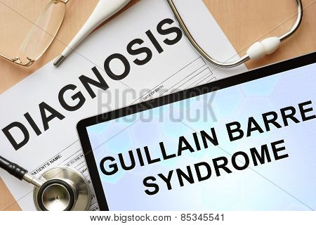 Tablet with diagnosis guillain barre syndrome  and stethoscope.
