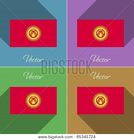 Flags Kyrgyzstan. Set Of Colors Flat Design And Long Shadows. Vector