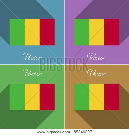 Flags Mali. Set Of Colors Flat Design And Long Shadows. Vector