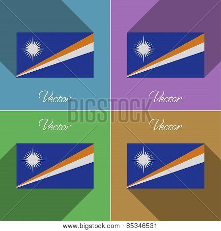 Flags Marshll Islands. Set Of Colors Flat Design And Long Shadows. Vector