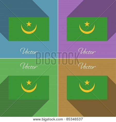 Flags Mauritania. Set Of Colors Flat Design And Long Shadows. Vector