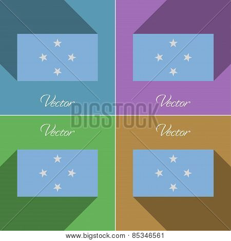 Flags Micronesia. Set Of Colors Flat Design And Long Shadows. Vector