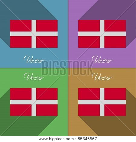 Flags Military Order Malta. Set Of Colors Flat Design And Long Shadows. Vector