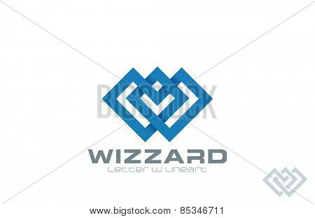 Letter W Logo design. Infinity Loop vector template. Line art style icon.