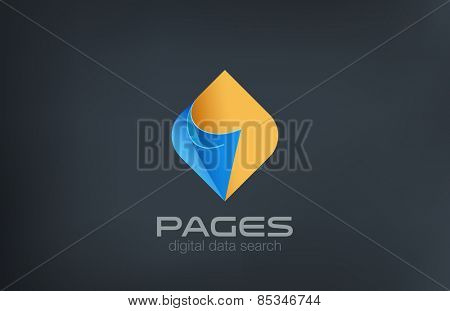 Pages Logo design vector template. Search data concept. Guide reference manual compendium logotype idea icon.