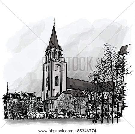 France, Paris, Ancient church Saint Germain des Pres - vector illustration