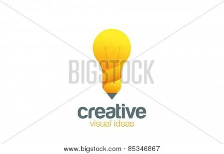 Lamp & Pencil Logo Creative idea symbol vector template. Bright ideas for your business. Design studio logotype concept icon.