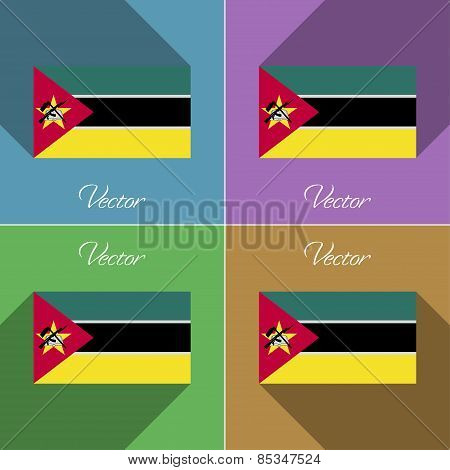 Flags Mozambique. Set Of Colors Flat Design And Long Shadows. Vector