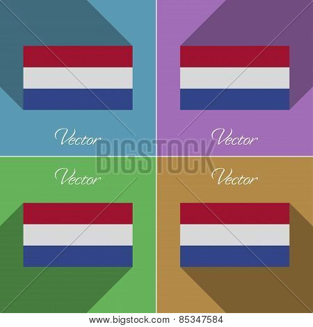 Flags Netherlands. Set Of Colors Flat Design And Long Shadows. Vector