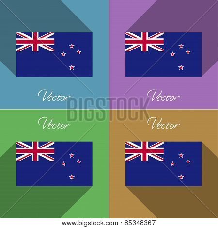 Flags New Zeland. Set Of Colors Flat Design And Long Shadows. Vector