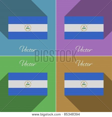 Flags Nicaragua. Set Of Colors Flat Design And Long Shadows. Vector