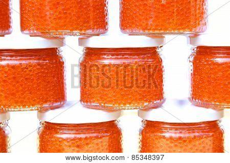 Red Caviar In Glass Jars