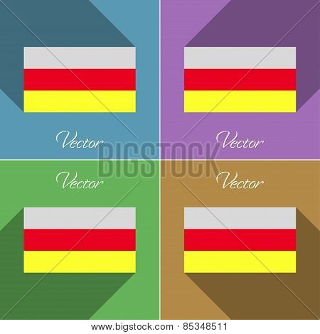 Flags North Ossetia. Set Of Colors Flat Design And Long Shadows. Vector