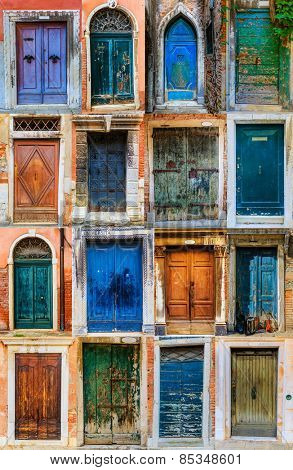 Collage of colourful front doors to houses and homes, collection colorful doors from Venice, Italy