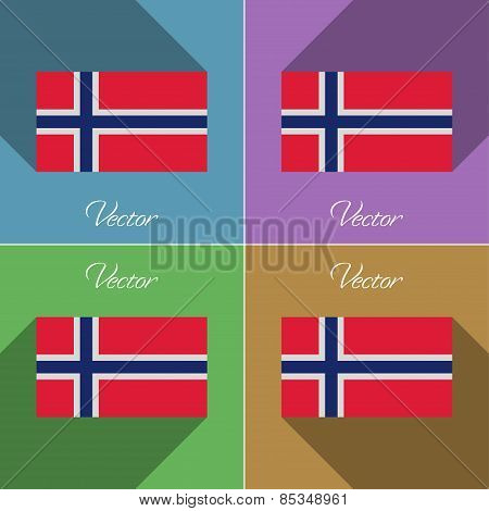 Flags Norway. Set Of Colors Flat Design And Long Shadows. Vector