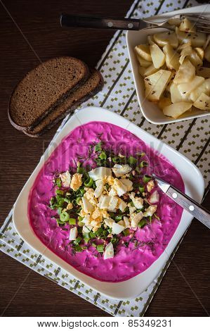 Upper View Of A Lithuanian Cold Beetroot Soup