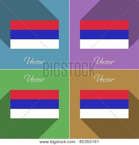 Flags Republika Srpska. Set Of Colors Flat Design And Long Shadows. Vector