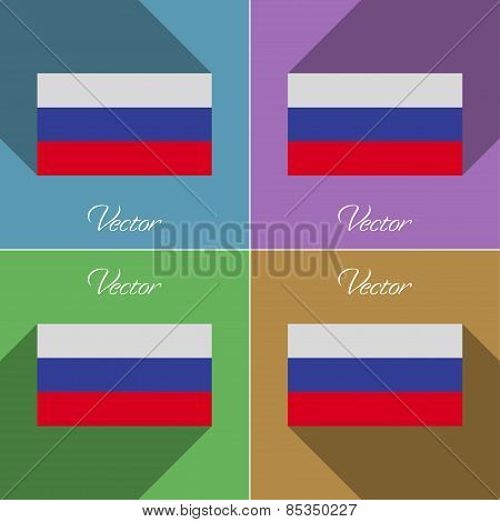 Flags Russia. Set Of Colors Flat Design And Long Shadows. Vector