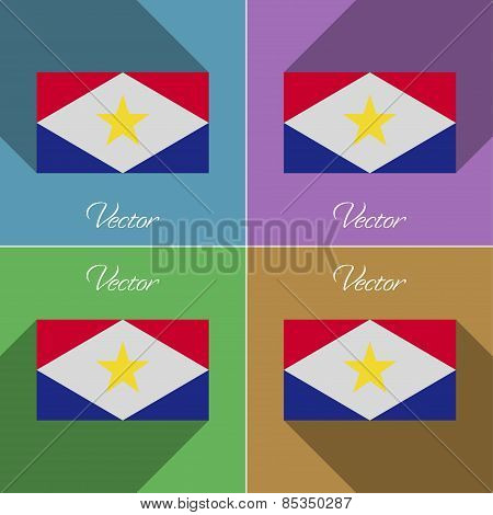 Flags Saba. Set Of Colors Flat Design And Long Shadows. Vector