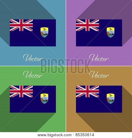 Flags Saint Helena. Set Of Colors Flat Design And Long Shadows. Vector