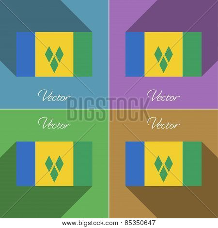 Flags Saint Vincent Grenadines. Set Of Colors Flat Design And Long Shadows. Vector