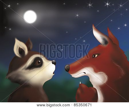 Raccoon and fox by night