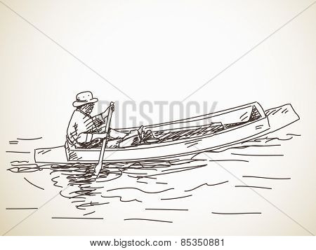 Sketch of small row boat, Hand drawn vector illustration