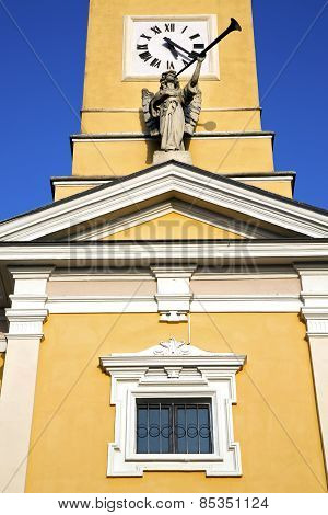 In Cislago Old Abstract    Italy   The   Wall  And Church Tower Trumpet Angel