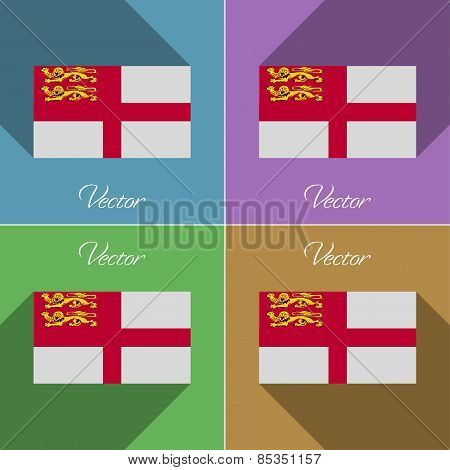 Flags Sark. Set Of Colors Flat Design And Long Shadows. Vector