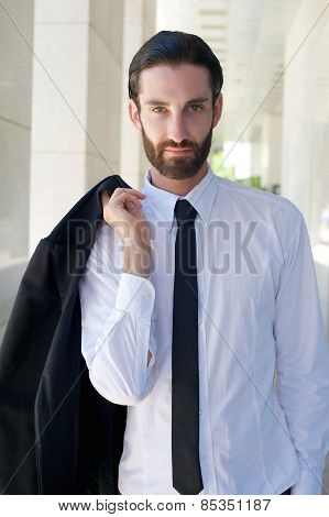 Cool Businessman With Beard And Black Tie