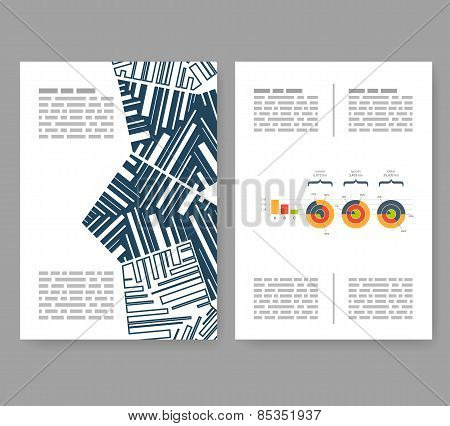 Flyer, Leaflet, Booklet Layout. Editable Design Template. A4 2-fold Brochure With Abstract Elements,
