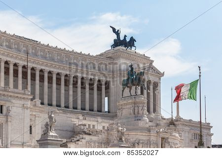 Italian National Flag In Front Of Monumento Nazionale A Vittorio Emanuele Ii