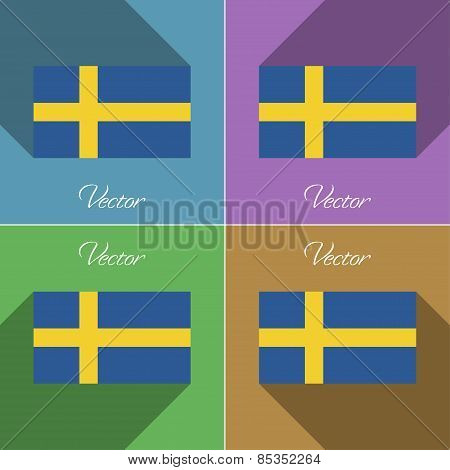Flags Sweden. Set Of Colors Flat Design And Long Shadows. Vector