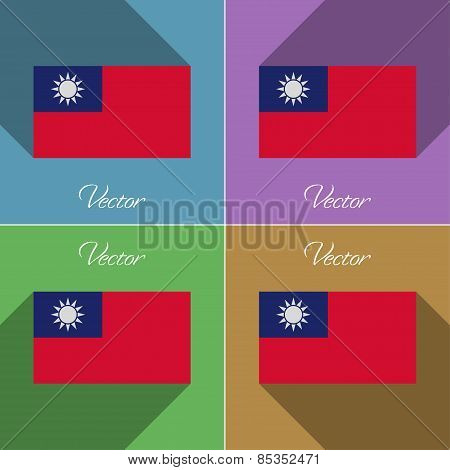 Flags Taiwan. Set Of Colors Flat Design And Long Shadows. Vector