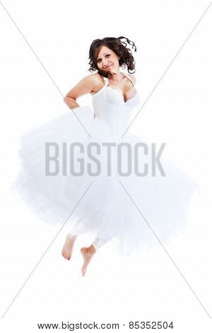 Young Bride Jumping