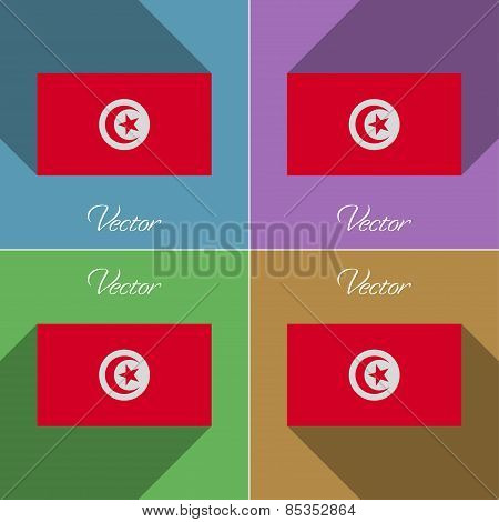 Flags Tunisia. Set Of Colors Flat Design And Long Shadows. Vector