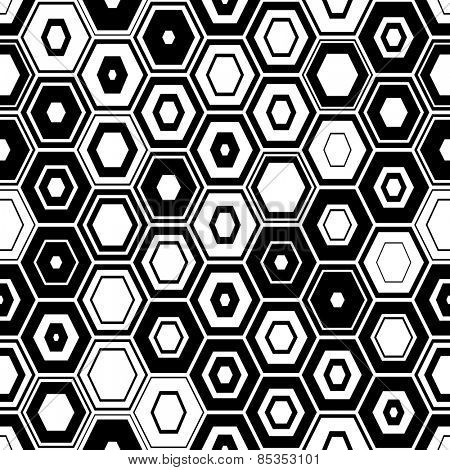 Seamless Hexagon Pattern. Abstract Black and White Background. Vector Regular Texture