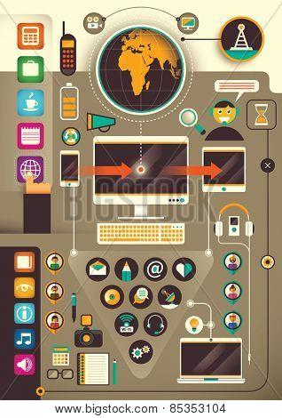 Communication technology background. Vector illustration.
