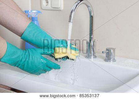 Sponge Under Faucet