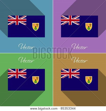 Flags Turks And Caicos. Set Of Colors Flat Design Long Shadows. Vector