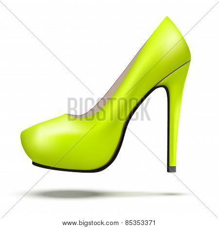 Green bright modern high heels pump woman shoes