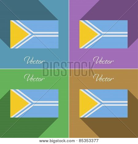 Flags Tuva. Set Of Colors Flat Design And Long Shadows. Vector