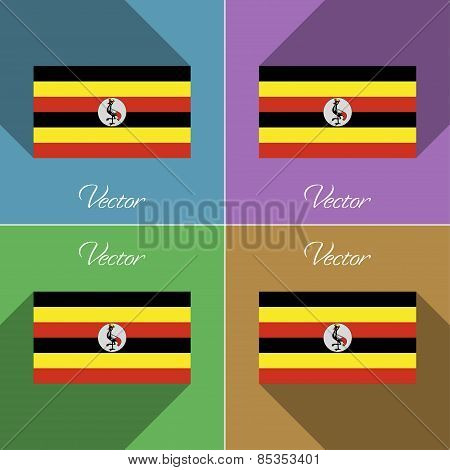 Flags Uganda. Set Of Colors Flat Design And Long Shadows. Vector